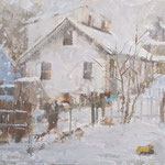 """Charles Newman, """"White Out"""", 12"""" x 15"""", oil on linen panel"""
