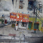 "Catherine Mulligan, ""Corner on Girard"", 11"" x 14"", oil on paper"