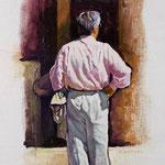 "Rick Buttari, ""Man in Pink Shirt"", 11.5"" x 7.5"", oil on mounted canvas"