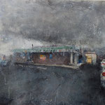 "Catherine Mulligan, ""Camden Parking Lot"",  16"" x 20"", oil on masonite"
