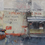 "Catherine Mulligan, ""West Indian and African Grocery"", 17"" x 24"", oil & xerox transfer on masonite"
