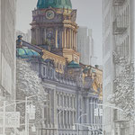 "Anzhelika Doliba, ""Top of Broome St."", 37"" x 19"", silverpoint & casein"