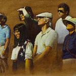 "Rick Buttari, ""Gawkers"", 9.25"" x 15.25"", oil on mounted canvas"