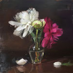 "Rachel Constantine, ""Peony Trio II"", 12"" x 12"", oil on panel"