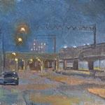 "Charles Newman, ""SEPTA Train Trestles"", 10"" x 10"", oil on panel"