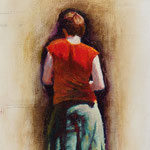 """Rick Buttari, """"Woman in Red Blouse"""", 10"""" x 7.5"""", oil on mounted canvas"""