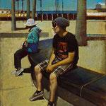 "Rick Buttari, ""Lynn & Kevin in Venice"", 18.5"" x 14"", oil on mounted canvas"