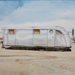 "Robert Waddington, Silver Spartan Trailer Home, watercolor, 8"" x 10"""