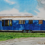 "Robert Waddington, Blue and White Vagabond Trailer Home, watercolor, 8"" x 10"""