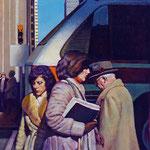 """Rick Buttari, """"Three Figures & Bus"""", 14"""" x 11"""", oil on mounted canvas"""