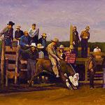 """Rick Buttari, """"Rodeo"""", 11"""" x 14"""", oil on mounted canvas"""