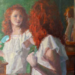 """Charles Newman, """"Getting Ready"""", 24"""" x 18"""", oil on linen panel"""