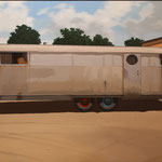 "Robert Waddington, 1949 Spartan Mansion Trailer Home, oil, 32"" x 48"""