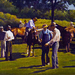 """Rick Buttari, """"Horse Traders I"""", 10"""" x 12.5"""", oil on mounted canvas"""