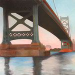 """Ben Franklin Bridge"", oil on canvas, 24"" x 30"""