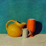 "Rick Buttari, ""Still Life with Aqua Background"", 8.5"" x 10.5"", oil on mounted canvas"