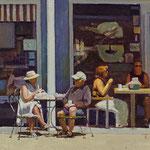"Rick Buttari, ""Outdoor Cafe"", 6"" x 10"", oil on mounted canvas"