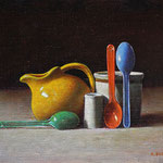 "Rick Buttari, ""Yellow Creamer and Spoons"", 9"" x 12"", oil on mounted canvas"