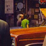 "Rick Buttari, ""Smoke Shop Corner"", 11"" x 9"", oil on mounted canvas"