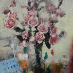 "Catherine Mulligan, ""Flowers in Studio"", 18"" x 12"", oil & pigment transfer on masonite"