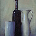 "Rick Buttari, ""Black & Gray Still Life"", 8"" x 5"", oil on mounted canvas"