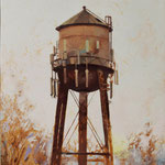 """Water Tower"", 32"" x 16"", oil on canvas"