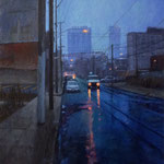 "Patrick Crofton, ""Rainy Evening on North Ninth"", 18"" x 14"", oil on panel"