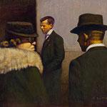 """Rick Buttari, """"Sunday Meeting"""", 8 1/2"""" x 11 7/8"""", oil on mounted canvas"""