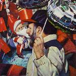 """Rick Buttari, """"Balloon Man"""", 9"""" x 7"""", oil on mounted canvas"""