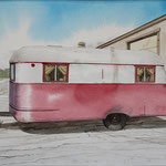 "Robert Waddington, Maroon and White Trailer Home, watercolor, 8"" x 10"""