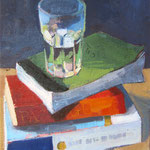 """Kate Kern Mundie, """"Books and Cup"""", 12"""" x 9"""", oil on panel"""