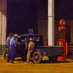 """Rick Buttari, """"Red Gas Pump"""", 11"""" x 14"""", oil on mounted canvas"""