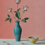 "Nancy Bea Miller, ""Pink Roses with Mints"", 24"" x 18"", oil on canvas"