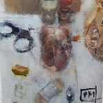 "Catherine Mulligan, ""Chicken Still Life 1"", 16"" x 12, oil on mylar"