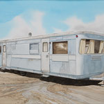 "Robert Waddington, Gray Marina Trailer Home, watercolor, 8"" x 10"""