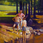 """Rick Buttari, """"By the Stream"""", 12"""" x 10"""", oil on mounted canvas"""