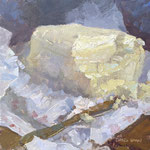 """Charles Newman, """"B.O.B. Block of Butter"""", 10"""" x 10"""", oil on panel"""