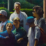 "Rick Buttari, ""Park Group"", 16"" x 27"", oil on canvas"
