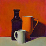 """Rick Buttari, """"Still Life with Red Background"""", 10"""" x 8"""", oil on mounted canvas"""
