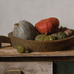 "Carlo Russo, ""Gourds and Rice Bowl"", 24"" x 34"", oil/linen"