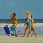 "Rick Buttari, ""Beach Strollers"", 4.75"" x 8.5"", oil on mounted canvas"