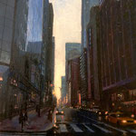 "Patrick Crofton, ""Last Light on Market"", 10"" x 8"", oil on zinc panel"