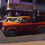 "Rick Buttari, ""Red Pickup at LaPrimadora"", 20"" x 28"", oil on canvas"