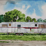 "Robert Waddington, Red Striped Trailer Home, watercolor, 8"" x 10"""