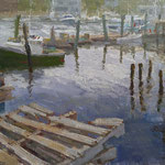 """Charles Newman, """"Pallets and Pilings"""", 18"""" x 24"""", oil on linen panel"""