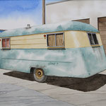 "Robert Waddington, 1947 Faded Westcraft Trailer Home, watercolor, 8"" x 10"""