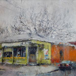 "Catherine Mulligan, ""Bill's Discount Liquor "", 14"" x 16"", oil on masonite"