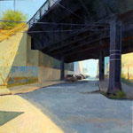 "Robert Sampson, ""Rail Park"", 24"" x 24"", oil on canvas on panel"