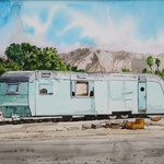 "Robert Waddington, Bakersfield Trailer Home, watercolor, 8"" x 10"""
