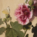 "Carlo Russo, ""Hollyhock"", 5"" x 7"", oil/panel"